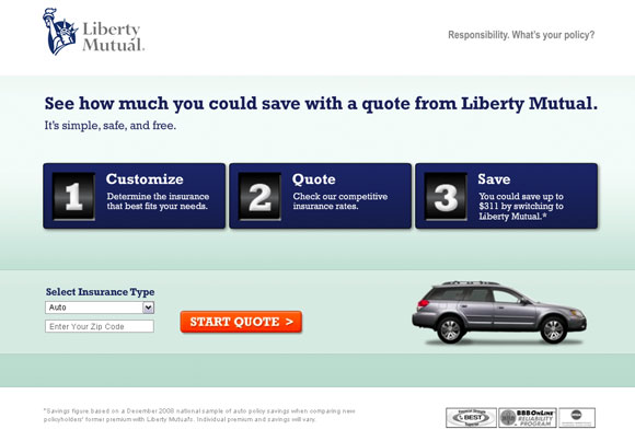 Liberty Mutual Quote Page